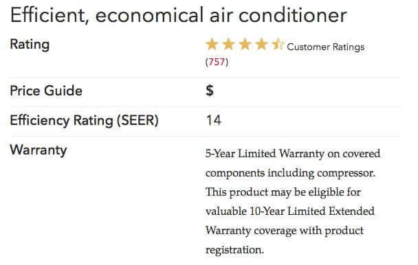 14acx specs Lennox Air Conditioners