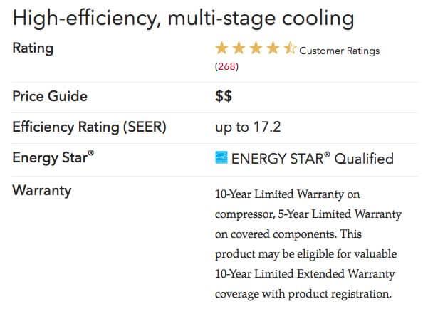 xc16 specs Lennox Air Conditioners