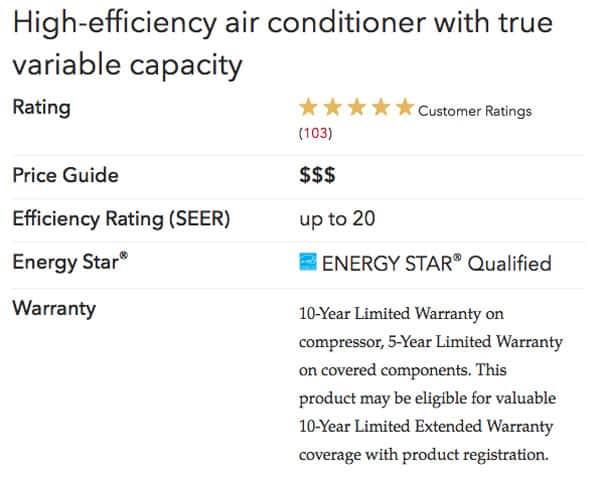 xc20 specs Lennox Air Conditioners